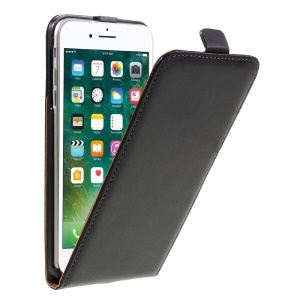 Split Leather Vertical Flip Stand Case for iPhone 7 Plus - Black