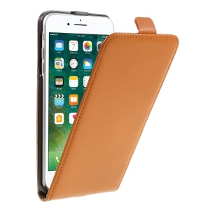 Split Leather Vertical Flip Case with Stand for iPhone 7 Plus - Orange