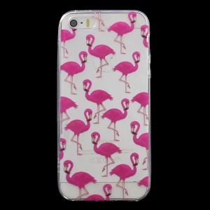 Patterned IMD TPU Phone Case for iPhone SE/5s/5 - Flamingo