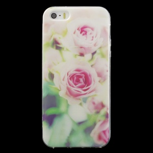Patterned IMD TPU Shell Case for iPhone SE/5s/5 - Pretty Rose Flower