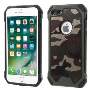 Camouflage Leather Coated PC TPU Back Case for iPhone 8/7 4.7 inch - Army Green