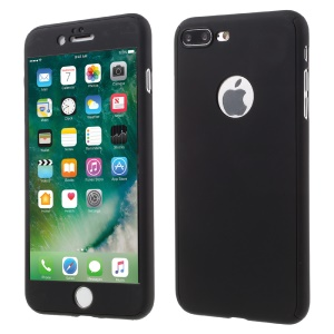 Full Protection 2-in-1 PC Hard Case for iPhone 8 Plus / 7 Plus + Tempered Glass Screen Protector - Black