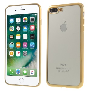 Electroplating Clear TPU Case Shell for iPhone 8 Plus / 7 Plus - Gold