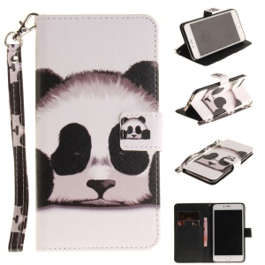 Pattern Printing Leather Wallet Stand Cover with Wrist Strap for iPhone 8 Plus / 7 Plus 5.5 - Panda