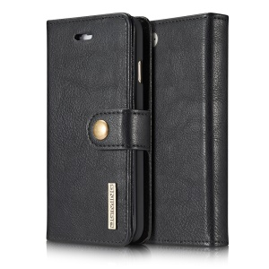 dg. MING Split Leather Wallet Cover com Destacável PC Back Shell para iPhone 7 4.7 - negro