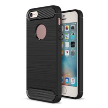 Carbon Fibre Brushed TPU Case for iPhone SE/5s/5 - Black