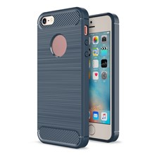 Carbon Fibre Brushed TPU Case Shell for iPhone SE/5s/5 - Dark Blue