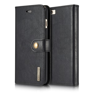 DG.MING Split Leather Wallet + Detachable PC Back Shell for iPhone 6s 6 4.7 - Black