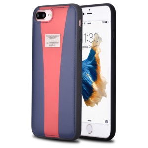 ASTON MARTIN RACING for iPhone 8 Plus / 7 Plus 5.5 inch Genuine Leather Skin PC TPU Hybrid Cover  - Dark Blue