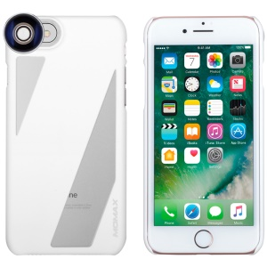 MOMAX X-Lens 2 in 1 Clip-on 120° Wide Angle/15X Macro Lens Set + Phone Case for iPhone 8 / 7 - White