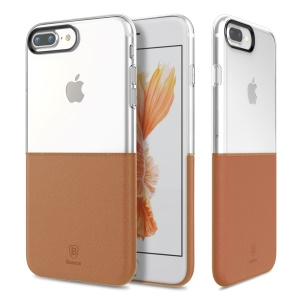 BASEUS Half to Half Case PC TPU Case Cover for iPhone 8 Plus / 7 Plus 5.5 inch - Brown