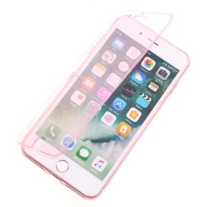 Touchable Flip TPU Soft Case for iPhone 7 Plus 5.5 inch - Pink