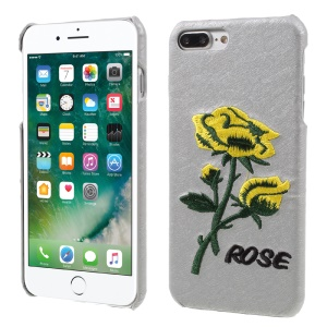 3D Embroidery Rose Leather Coated Hard Shell for iPhone 7 Plus - Grey