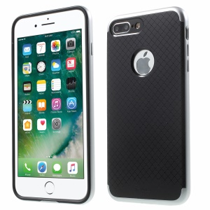 IPAKY PC Frame + TPU Back Hybrid Cover for iPhone 7 Plus - Silver