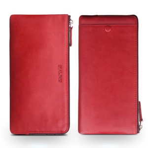 QIALINO Oil Wax Genuine Leather Pouch Clutch Purse for iPhone 7 Plus/7 Etc - Red