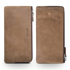 QIALINO Oil Wax Genuine Leather Wallet Pouch Cover for iPhone 8 Plus / 7 Plus/7 Etc - Khaki