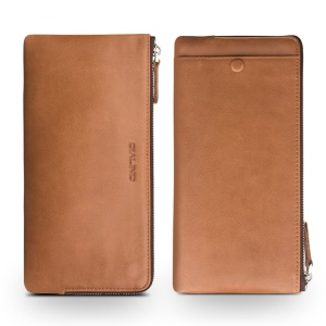 QIALINO Oil Wax Genuine Leather Case Clutch Purse for iPhone 8 Plus / 7 Plus/7 Etc - Brown