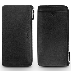 QIALINO Litchi Texture Genuine Leather Clutch Purse Pouch for iPhone 8 Plus / 7 Plus/7 Etc - Black
