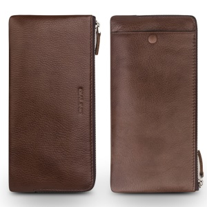QIALINO Litchi Texture Genuine Leather Clutch Pouch Case for iPhone 8 Plus / 7 Plus/7 Etc - Brown