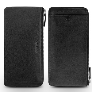 QIALINO Litchi Texture Universal Genuine Leather Wallet Pouch Case for iPhone 7 Plus/6s Plus Etc, Size: 210 x 100mm - Black