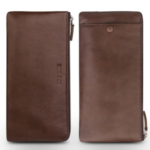 QIALINO Litchi Texture Tumbled Universal Genuine Leather Wallet Purse for iPhone 6 Plus/6 Etc, Size: 210 x 100mm - Brown