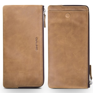 QIALINO Oil Wax Universal Genuine Leather Wallet Pouch Sleeve for iPhone 6 Plus/6 Etc, Size: 210 x 100mm - Khaki