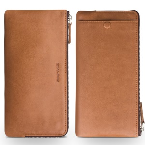 QIALINO Oil Wax Universal Tumbled Genuine Leather Wallet Purse for iPhone 6 Plus/6 Etc, Size: 210 x 100mm - Brown