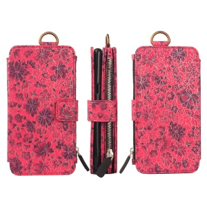 Flower Pattern 2 in 1 Magnetic Absorbed Multi-slot Wallet Leather Case for iPhone 7 Plus 5.5 - Red