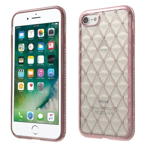SHENGO Rhombic TPU Gel Cover for iPhone 8/7 with Rhinestones - Rose Gold