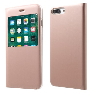 View Window Flip Leather Cover Case for iPhone 7 Plus - Rose Gold