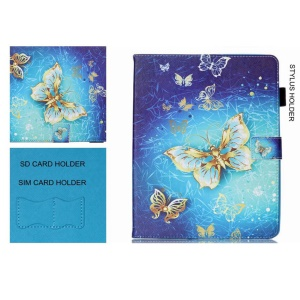 Smart Leather Wallet Flip Case for iPad Pro 9.7 with SIM/SD Card Holder - Gold Butterflies