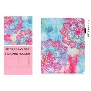 Smart Leather Wallet Case with SIM/SD Card Holder for iPad Air - Henna Lotus
