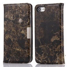 Marble Pattern Leather Wallet Flip Stand Case for iPhone 8 / 7 4.7 inch - Black