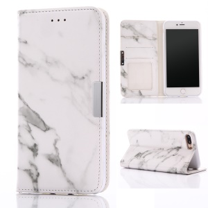 Marble Texture Leather Wallet Cover for iPhone 8 Plus / 7 Plus - White