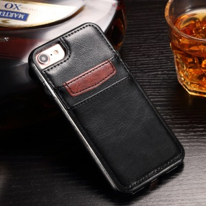 Crazy Horse Leather Coated TPU Case for iPhone 8 / iPhone 7 4.7 with Card Slots - Black