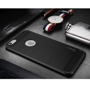 IPAKY for iPhone 6s 6 Drop-proof Brushed TPU Case with Carbon Fiber Decorated - Black