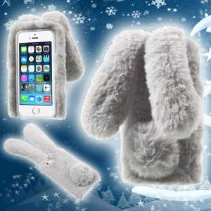 Bunny Shape Warm Fur TPU Cover for iPhone SE 5S 5 - Grey