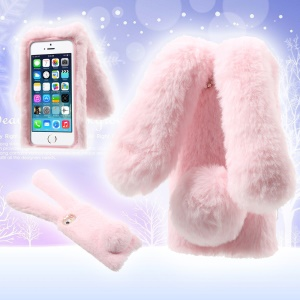 Bunny Shape Warm Fur TPU Shell for iPhone SE 5S 5 - Pink