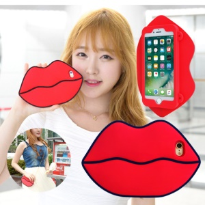 8THDAYS 3D Silicone Protective Bag Case for iPhone 7 Plus 5.5 with Metal Chain - Red Lips
