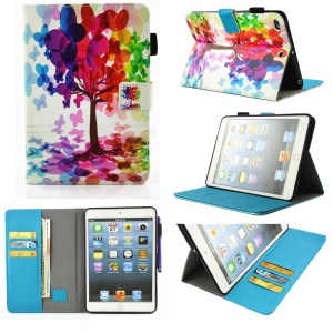 Patterned Smart Leather Wallet Cover for iPad Mini 4/3/2/1 - Colorful Tree