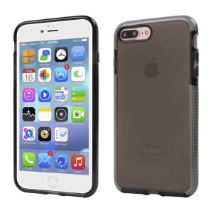 Clear Flexible TPU Protective Back Case for iPhone 7 Plus - Grey / Black
