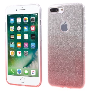XINCUCO TPU + PC Cover for iPhone 8 Plus / 7 Plus 5.5 inch with Gradient Color Glittery Powder Paper - Pink