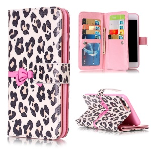 9 Card Slots Embossed Leather Wallet Case for iPhone 8 Plus / 7 Plus - Beige Leopard Pattern