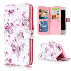 9 Card Slots Wallet Embossed Leather Shell for iPhone 8 Plus / 7 Plus - Elegant Roses
