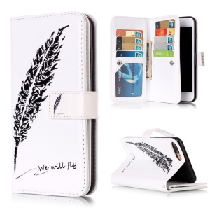 Wallet 9 Card Slots Embossing Leather Shell for iPhone 8 Plus / 7 Plus - Feather and We Will Fly