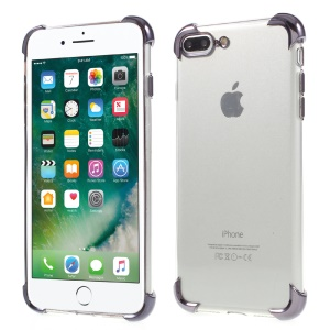 Shockproof Plating TPU Phone Cover for iPhone 8 Plus / 7 Plus - Grey
