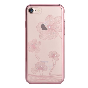 COMMA Authorized Swarovski Crystal Cornflower PC Plated Back Cover for iPhone 8 / 7 - Rose Gold