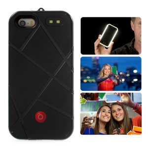 XIWXI Selfie Illuminated Rechargeable TPU PC Phone Case Power Bank for iPhone SE / 5S / 5 - Black