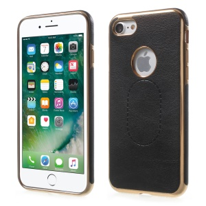Electroplating Leather Coated TPU Case for iPhone 8 / 7 4.7 Drop Prevention - Black