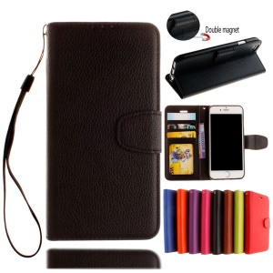 Litchi Skin Leather Wallet Case for iPhone 8 Plus / 7 Plus - Black